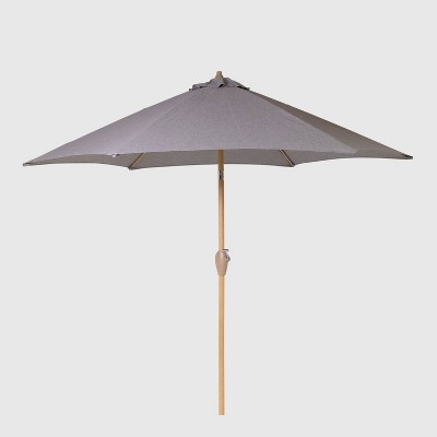 9' Round Patio Umbrella Gray - Light Wood Pole - Threshold™