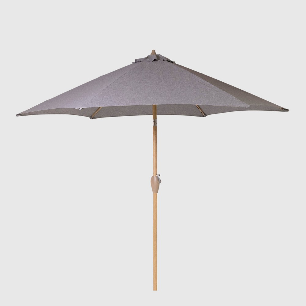 9' Round Patio Umbrella Gray - Light Wood Pole - Threshold