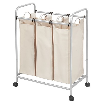 InterDesign Laundry Sorter 3 Bag Silver/Cream