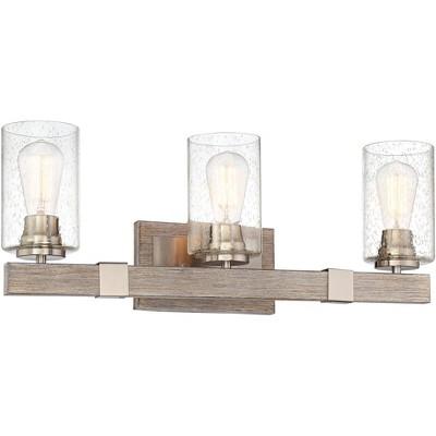 "Franklin Iron Works Rustic Farmhouse Wall Light Wood Grain Nickel Hardwired 23 1/2"" Wide 3-Light Fixture Seedy Glass Vanity Mirror"