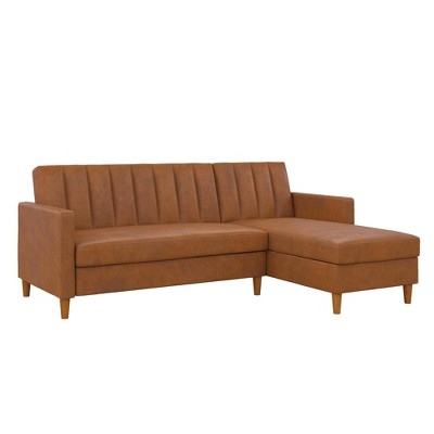 Celine Sectional Futon and Couch with Storage Camel Faux Leather - Room & Joy