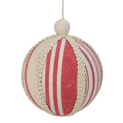 """Northlight 6"""" White and Red Striped Ball Christmas Ornament with Rope Accent"""