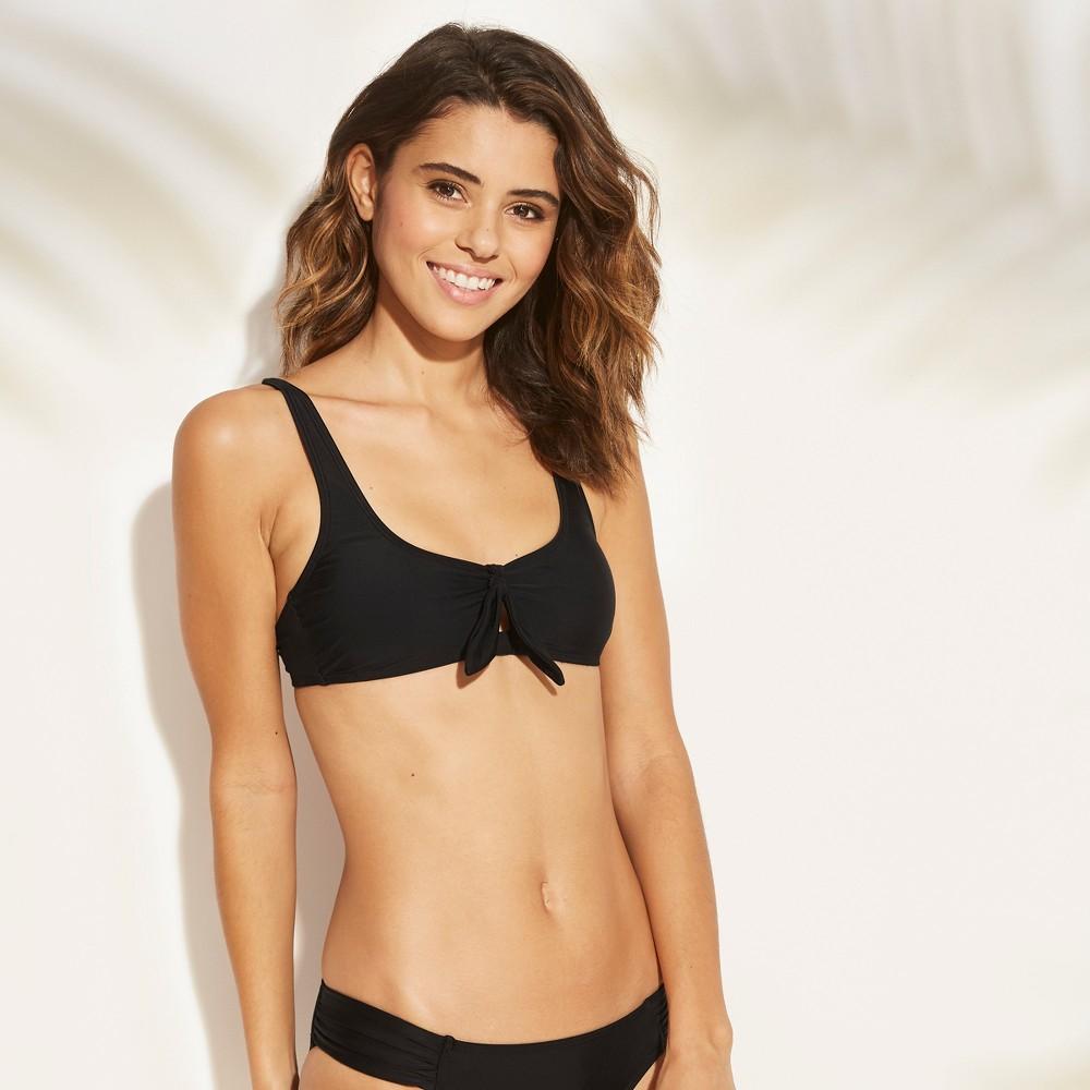 Women's Cut Out Tie Front Bralette Bikini Top - Xhilaration Black XS