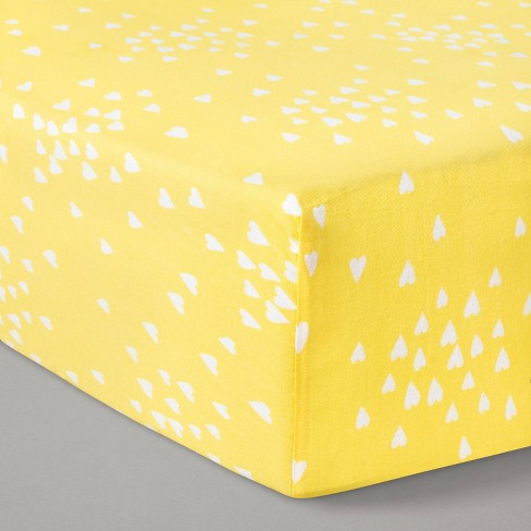 Fitted Crib Sheet Hearts Yellow - Cloud Island™ Yellow - image 1 of 2