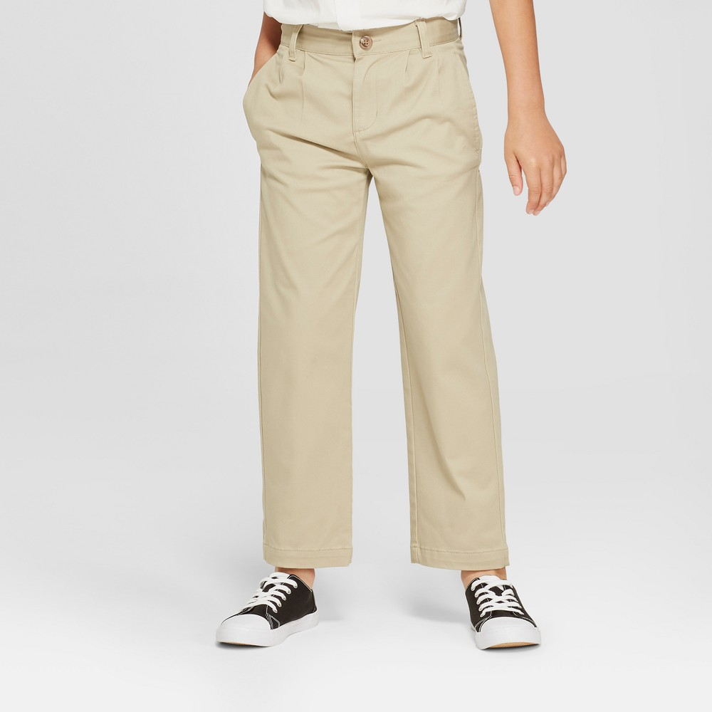 Boys' Pleated Uniform Chino Pants - Cat & Jack Khaki 4, Green was $14.99 now $10.49 (30.0% off)