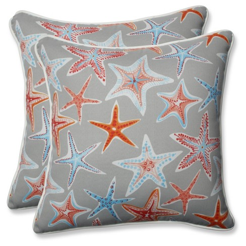 Outdoor/Indoor Stars Collide Gray Throw Pillow Set of 2 - Pillow Perfect - image 1 of 1