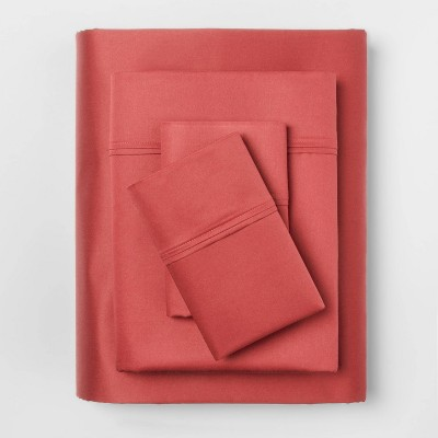 Queen 400 Thread Count Solid Performance Sheet Set Coral - Threshold™