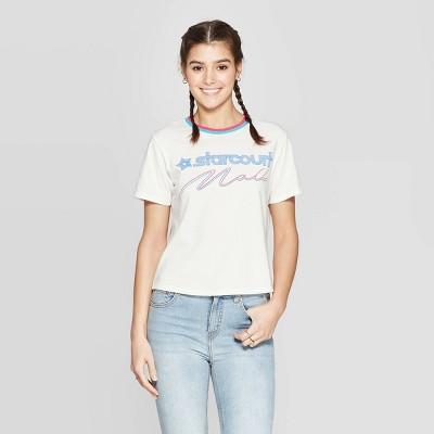 Women's Stranger Things Starcourt Mall Short Sleeve Cropped T Shirt (Juniors')   White by Shirt (Juniors')