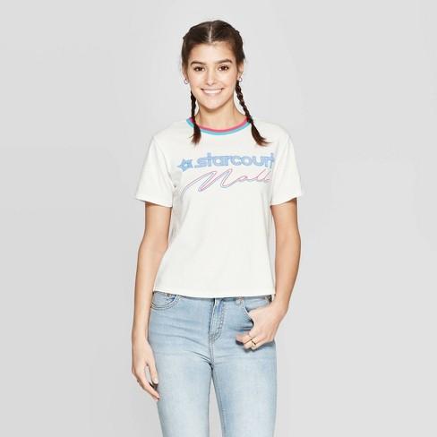 Women's Stranger Things Starcourt Mall Short Sleeve Cropped T-Shirt (Juniors') - White - image 1 of 2