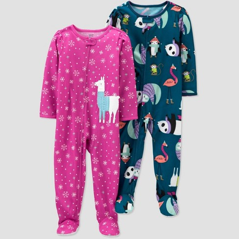 Toddler Girls' 2pk Lama Footed Pajama - Just One You® made by carter's Pink/Blue - image 1 of 1