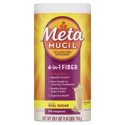 Metamucil Natural Psyllium Husk 4-in-1 Fiber Supplement With Real Sugar Unflavored Powder - 114ct - image 1 of 3