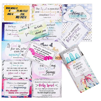 Bible Verse Scripture Cards - 40-Design Inspirational Christian Prayer Message Cards, 3.3 x 2.1 inches