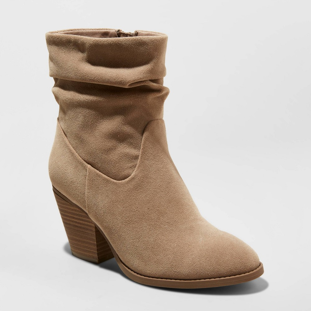 Vintage Boots, Retro Boots Womens Cianna Heeled Slouch Bootie - Universal Thread Taupe 12 Brown $34.99 AT vintagedancer.com