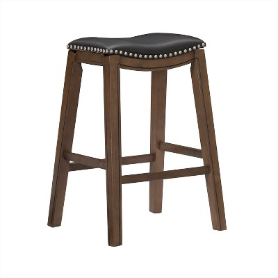 Homelegance 29-Inch Pub Height Wooden Bar Stool with Solid Wood Legs and Faux Leather Saddle Seat Kitchen Barstool Dinning Chair, Brown and Black