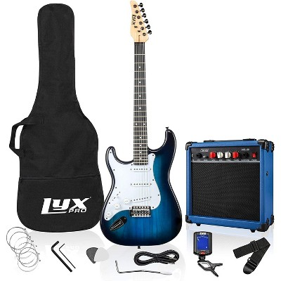 LyxPro Left Hand 39 Inch Electric Guitar and Starter Kit for Lefty Full Size Beginner's Guitar, Amp, Six Strings, Two Picks, Shoulder Strap, Digital Clip On Tuner, Guitar Cable and Soft Case - Blue