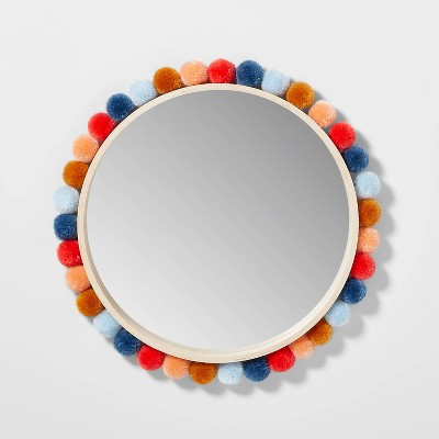 "19"" Round Colorful Pom-Pom Mirror - Pillowfort™"