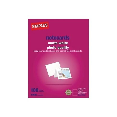 """Staples Inkjet Notecards 5 1/2"""" x 4 1/4"""" Matte 100/Pack 610397 - image 1 of 2"""