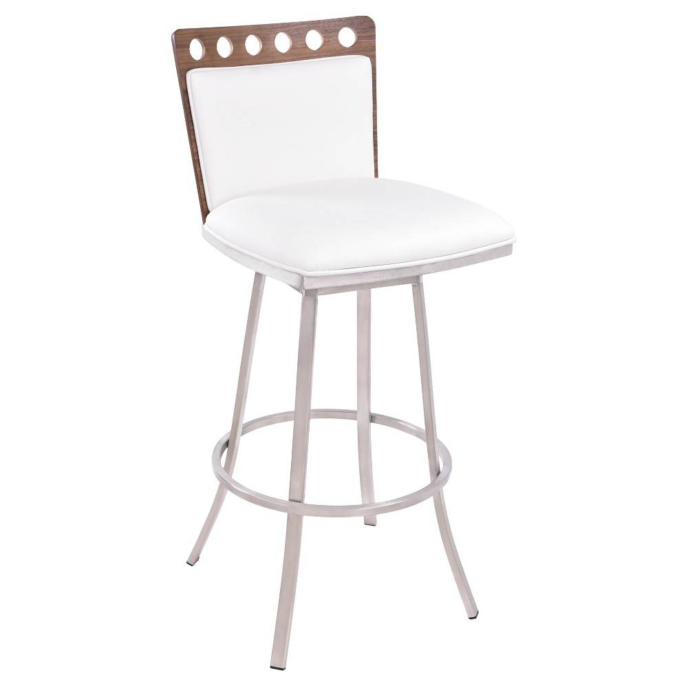 26 Coco Faux Leather Counter Stool - White - Armen Living