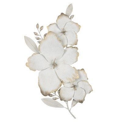 Blooming White and Gold Metal Flower Wall Decor - Stratton Home Décor