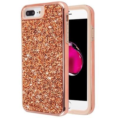 MYBAT Mini Crystals Rhinestones Desire Hard Cover Case For Apple iPhone 6 Plus/6s Plus/7 Plus/8 Plus - Rose Gold