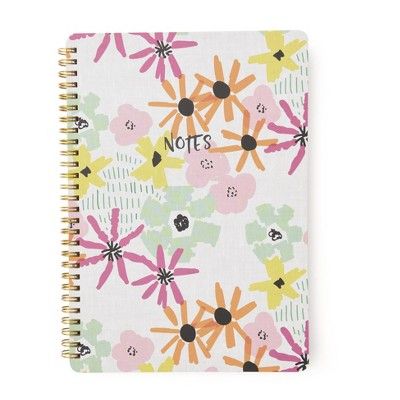 Abstract Floral 'Notes' Spiral Notebook 1 Subject - Roobee