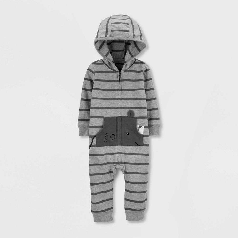 Image of Baby Boys' 1pc Striped Rhino Hooded Jumpsuit - Just One You made by carter's Gray 24M, Boy's