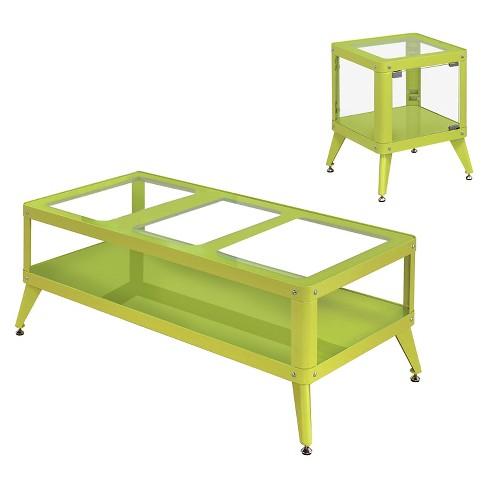 Clara 2pc Modern Vibrant Color Metal Table Set Apple Green - miBasics - image 1 of 4