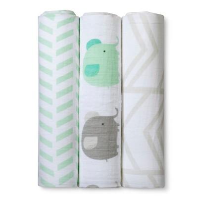 Muslin Swaddle Blankets Elephants 3pk - Cloud Island™ Mint