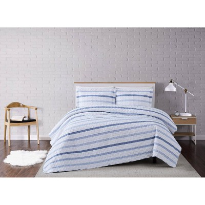 Full/Queen 3pc Waffle Stripe Quilt Set Blue/White - Truly Soft