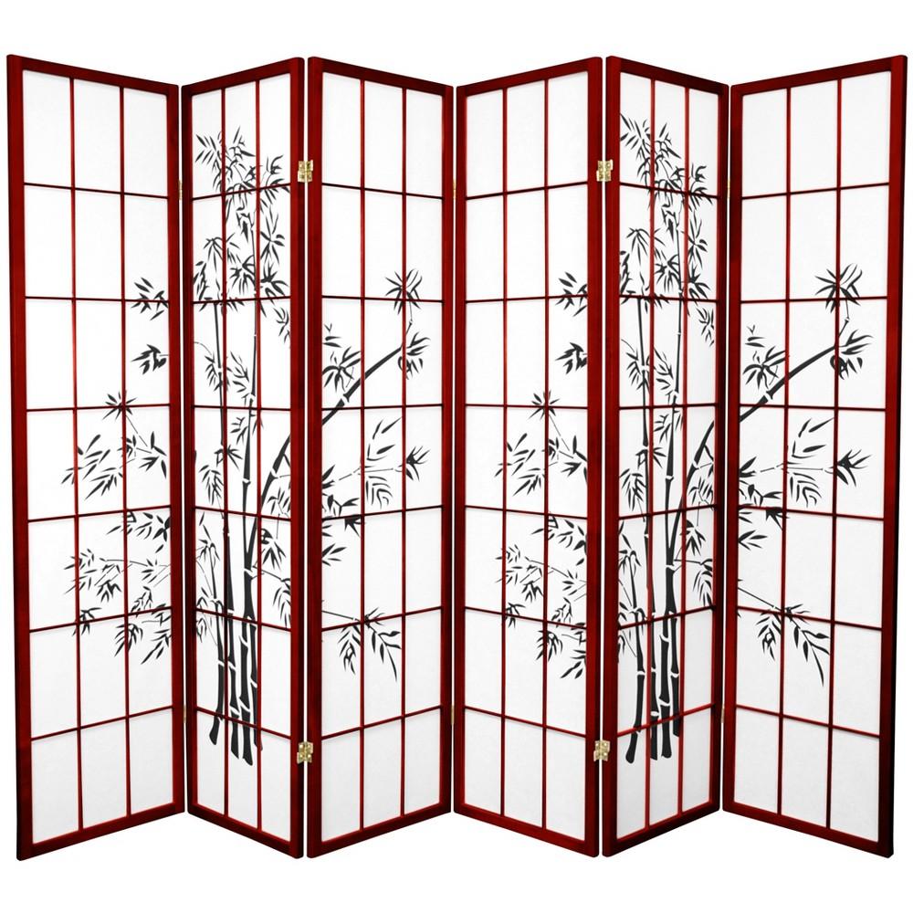 Oriental Furniture 6' Tall Lucky Bamboo Shoji Screen 6 Panels Rosewood