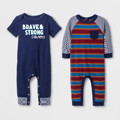 Baby Boys' 2pk Long Sleeve and Short Sleeve Rompers - Cat & Jack™ Navy/Red 6-9M