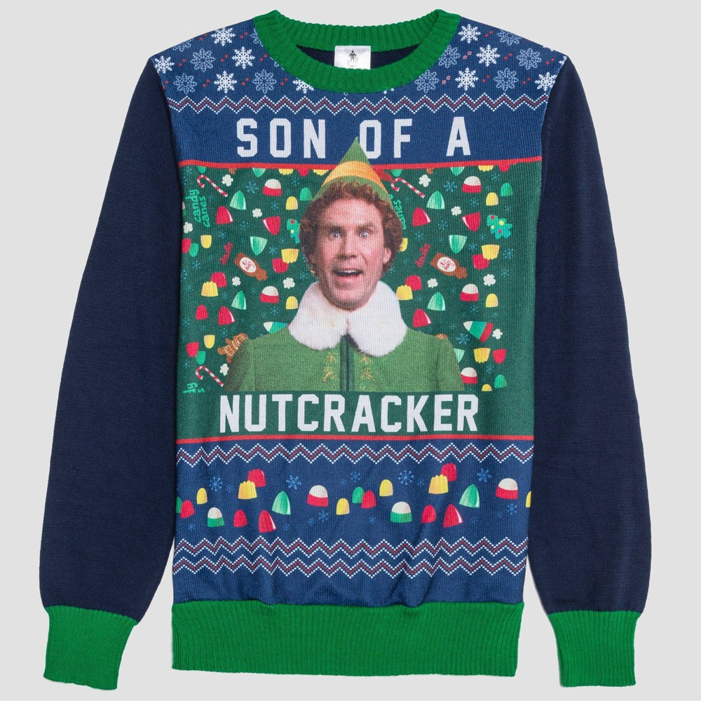 Image of Men's Elf Son of A Nutcracker Graphic Sweatshirt - Green L, Size: Large