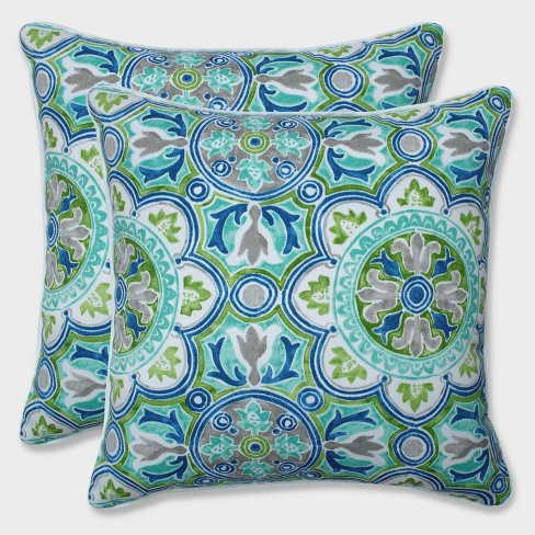 "18.5"" 2pk Lagoa Tile Pool Throw Pillows Blue - Pillow Perfect - image 1 of 2"