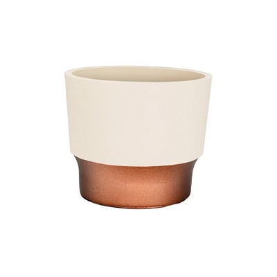 The HC Companies 3 Inch Round Plastic Sprite Decorative Indoor Flower Succulent Planter Pot with Drain Plug Hole, Vanilla Bisque