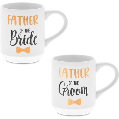 Sparkle and Bash 2 Pack Ceramic Coffee Mug, Father of the Bride, Father of the Groom (16 oz)