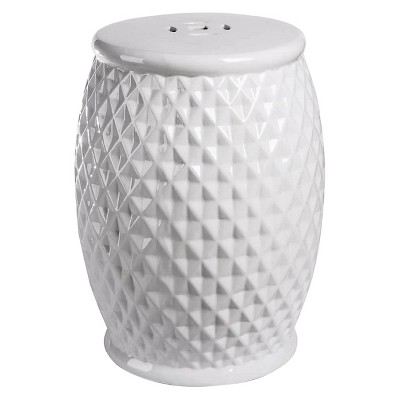 Exceptionnel Marina Tufted White Ceramic Garden Stool   Abbyson Living