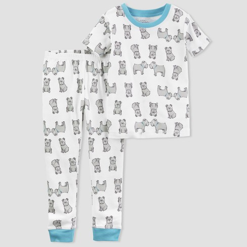 Baby Boys' 2pc Dog Pajama Set - little planet™ organic by carter's® White/Lime 6M - image 1 of 1