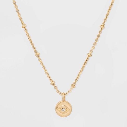 Evil Eye Charm Short Necklace - Gold - image 1 of 3