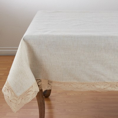 """Saro Lifestyle Poly And Linen Blend Tablecloth With Embroidered Lace Design, 72""""x72"""", Natural, Square"""