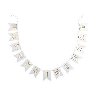 """Happy Birthday"" Party Banner White/Gold - Spritz™"