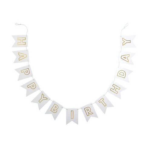 """""""Happy Birthday"""" Party Banner White/Gold - Spritz™ - image 1 of 1"""