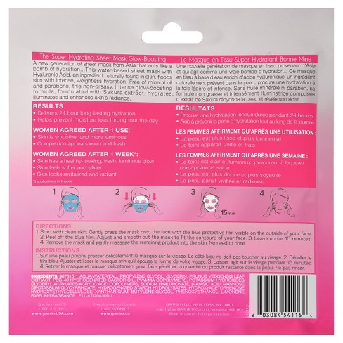 Garnier SkinActive Super Hydrating Sheet Mask - Glow-Boosting - 1.08 Fl Oz    Target d9ad0d13e