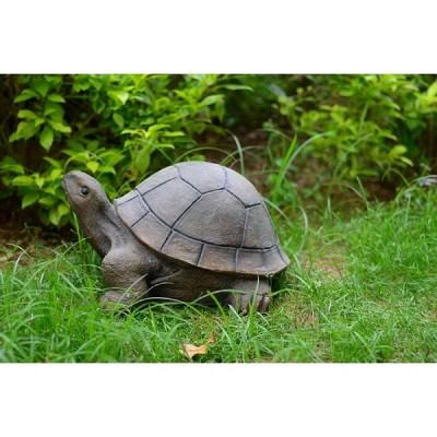 """10.5"""" Polyresin Large Crawling Turtle Outdoor Statue Green - Hi-Line Gift"""