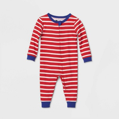 Baby July 4th Striped Union Suit - Red 6-9M