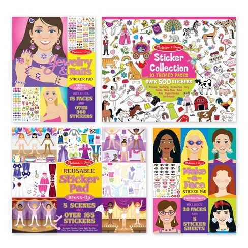 Melissa Doug Sticker Pads Set Jewelry And Nails Dress Up Make A Face Favorite Themes 1225 Stickers