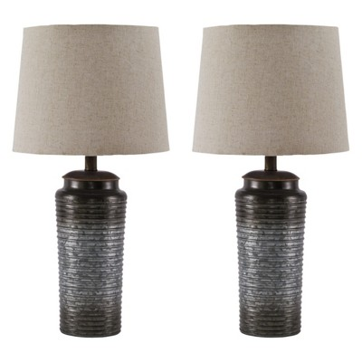 Norbert Metal Set Of 2 Table Lamp Gray - Signature Design by Ashley