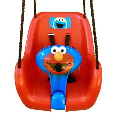 M & M Sales Backyard Outdoor Sesame Street Elmo Baby Toddler Bucket T-Bar Tree Swing with Nylon Ropes