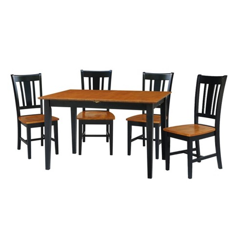 32\' X 48\' Set of 5 Dining Table with 4 San Remo Chairs Black/Red -  International Concepts