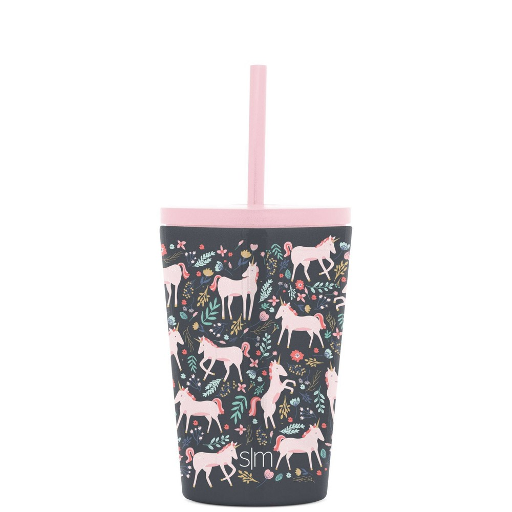 12oz Plastic Unicorn Fields Classic Water Bottle With Straw Simple Modern
