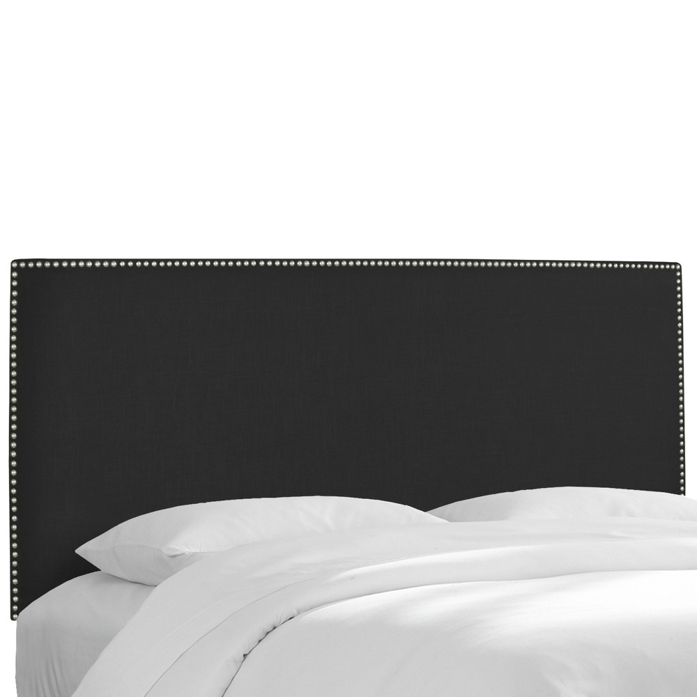 Queen Arcadia Nailbutton Headboard Linen Black with Pewter Nail Buttons - Skyline Furniture